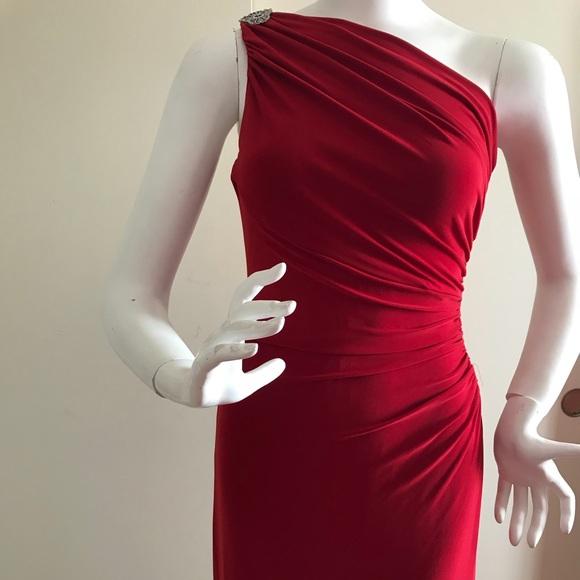 Ralph Lauren Dresses | Lauren Ralph One Shoulder Brooch Evening ...
